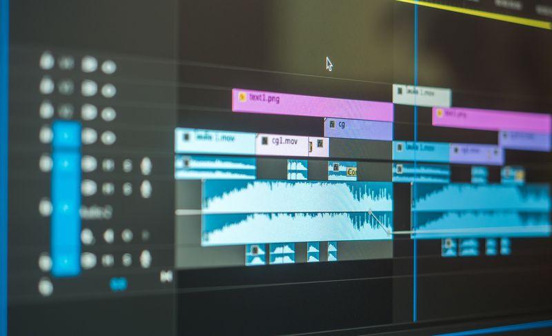 Timeline de edición de vídeo y audio